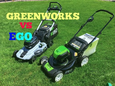 Greenworks VS EGO electric lawn mowers comparing / slow motion at the end