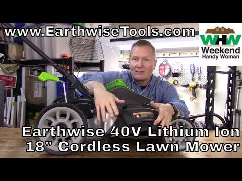 "#EarthWiseTools 18"" 40V Lithium Ion Cordless Lawn Mower | Weekend Handy Woman"